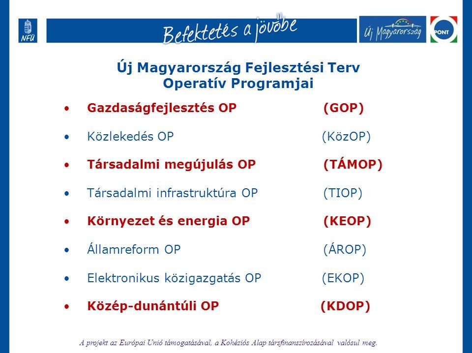 Új Magyarország Fejlesztési Terv Operatív Programjai •Gazdaságfejlesztés OP (GOP) •Közlekedés OP (KözOP) •Társadalmi megújulás OP (TÁMOP) •Társadalmi