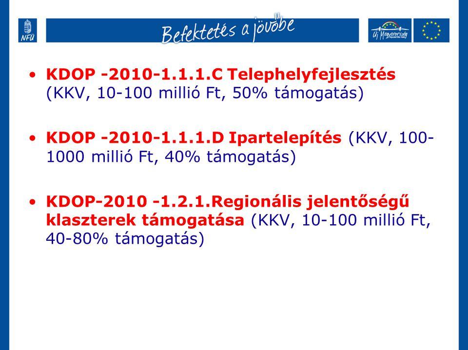 •KDOP -2010-1.1.1.C Telephelyfejlesztés (KKV, 10-100 millió Ft, 50% támogatás) •KDOP -2010-1.1.1.D Ipartelepítés (KKV, 100- 1000 millió Ft, 40% támoga