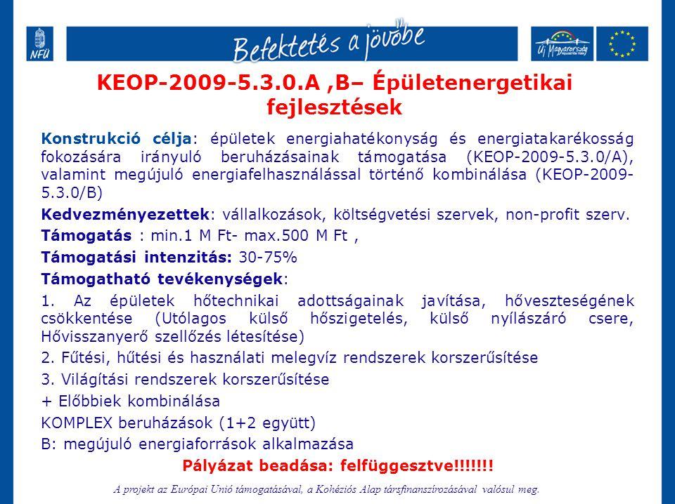 KEOP-2009-5.3.0.A,B– Épületenergetikai fejlesztések Konstrukció célja: épületek energiahatékonyság és energiatakarékosság fokozására irányuló beruházá