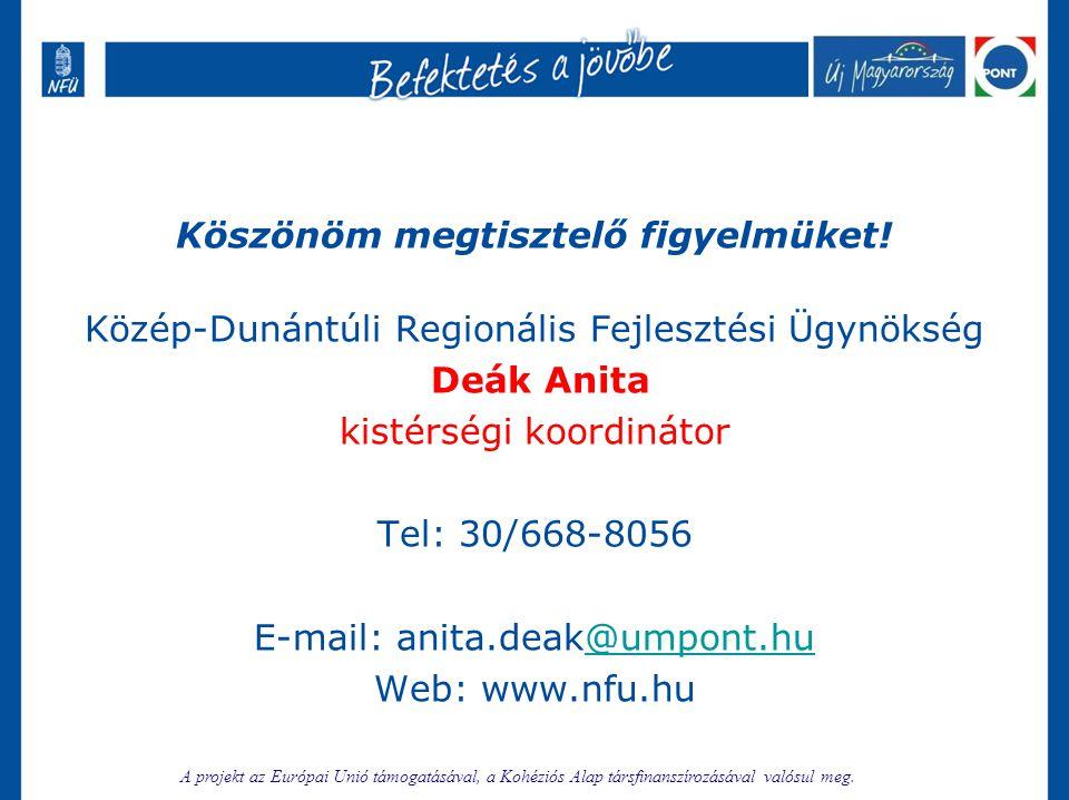 Köszönöm megtisztelő figyelmüket! Közép-Dunántúli Regionális Fejlesztési Ügynökség Deák Anita kistérségi koordinátor Tel: 30/668-8056 E-mail: anita.de