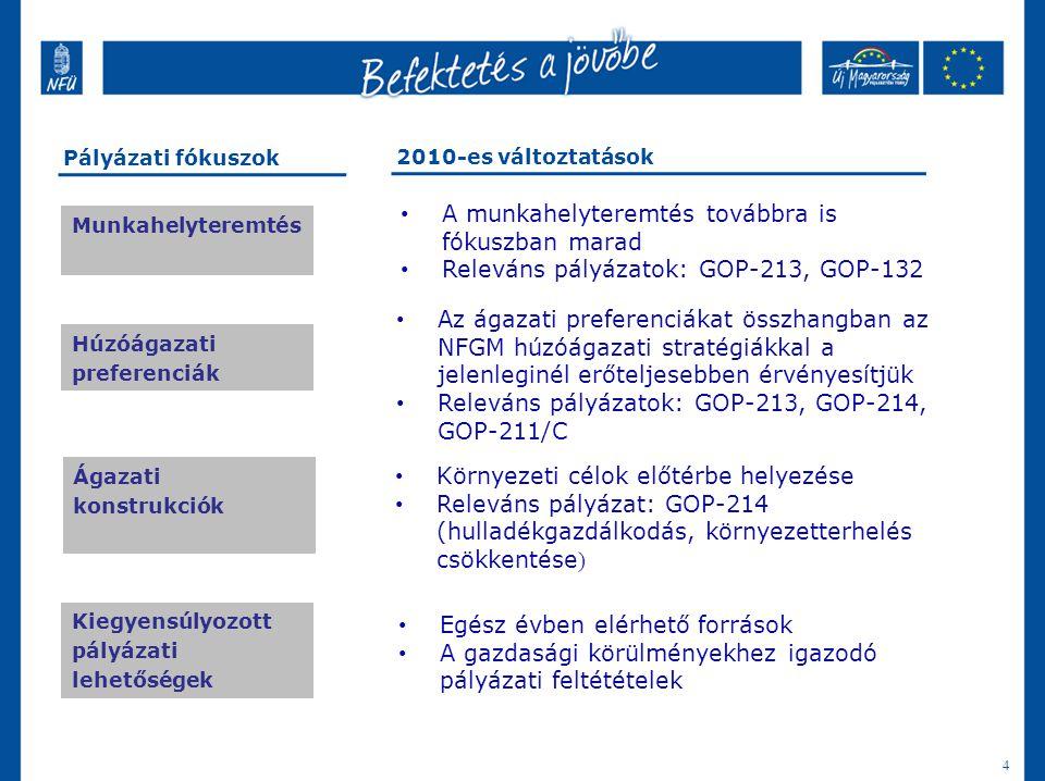 4 A 2010-es pályázati fókuszok Munkahelyteremtés Húzóágazati preferenciák Ágazati konstrukciók Kiegyensúlyozott pályázati lehetőségek Pályázati fókusz