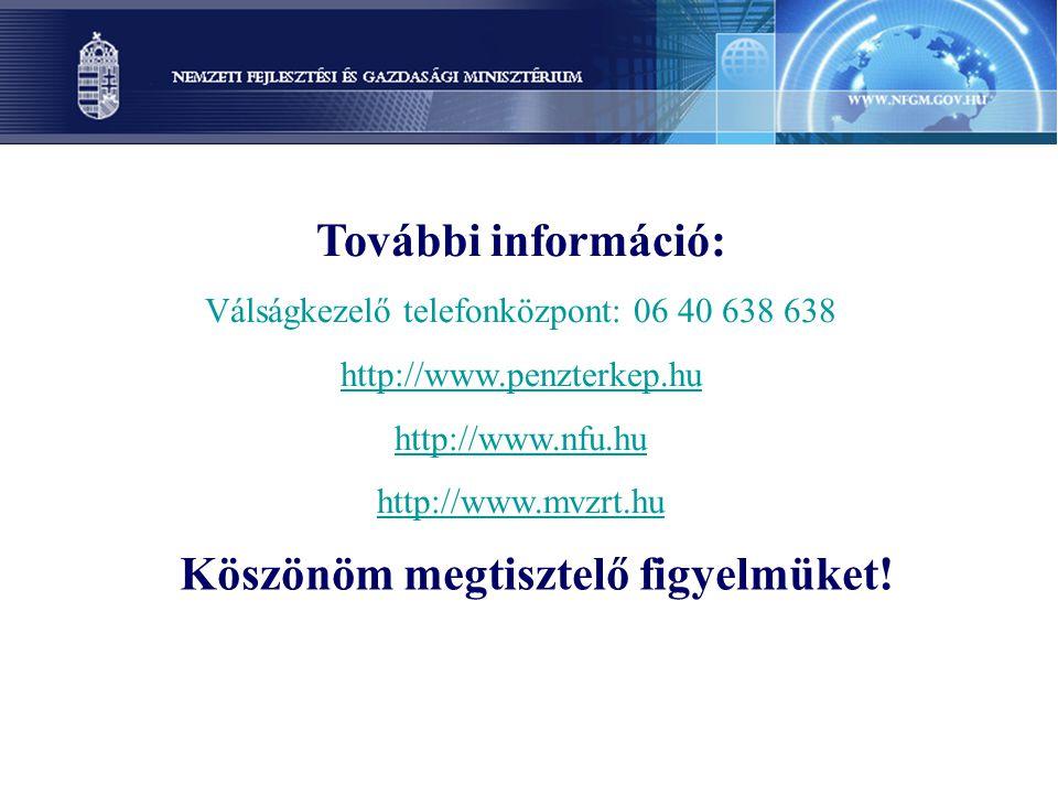 Köszönöm megtisztelő figyelmüket! További információ: Válságkezelő telefonközpont: 06 40 638 638 http://www.penzterkep.hu http://www.nfu.hu http://www
