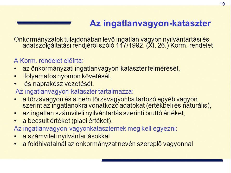 19 Az ingatlanvagyon-kataszter Önkormányzatok tulajdonában lévő ingatlan vagyon nyilvántartási és adatszolgáltatási rendjéről szóló 147/1992.