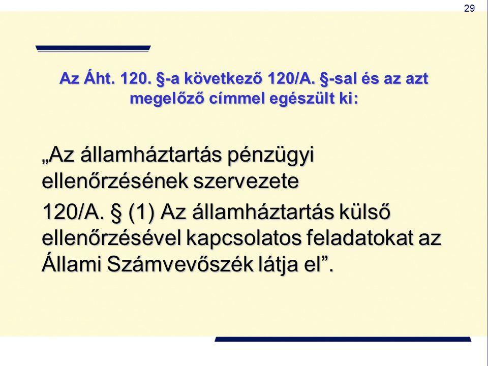 """29 Az Áht. 120. §-a következő 120/A. §-sal és az azt megelőző címmel egészült ki: """"Az államháztartás pénzügyi ellenőrzésének szervezete 120/A. § (1) A"""