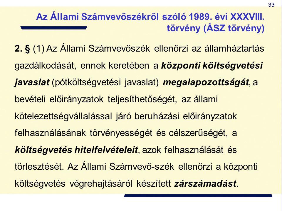 33 2. § (1) Az Állami Számvevőszék ellenőrzi az államháztartás gazdálkodását, ennek keretében a központi költségvetési javaslat (pótköltségvetési java