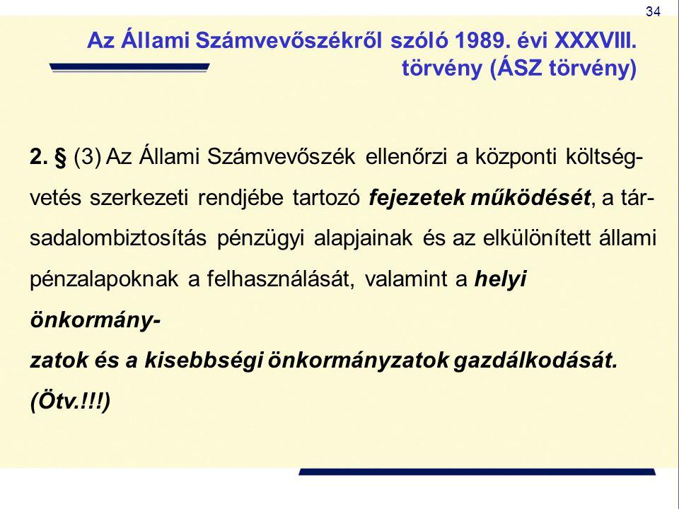 34 2. § (3) Az Állami Számvevőszék ellenőrzi a központi költség- vetés szerkezeti rendjébe tartozó fejezetek működését, a tár- sadalombiztosítás pénzü