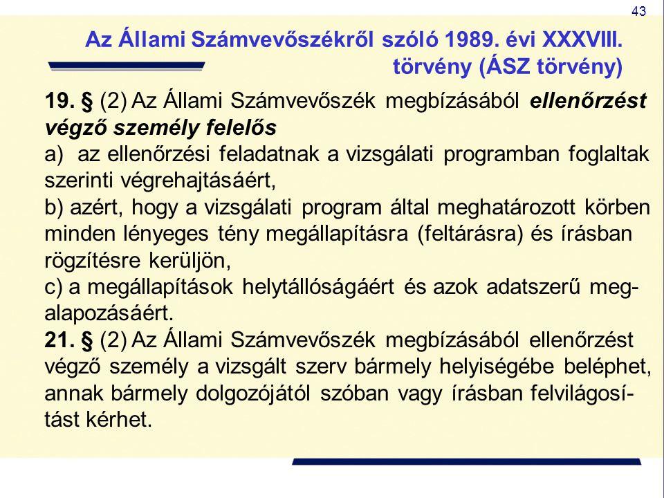 43 19. § (2) Az Állami Számvevőszék megbízásából ellenőrzést végző személy felelős a)az ellenőrzési feladatnak a vizsgálati programban foglaltak szeri