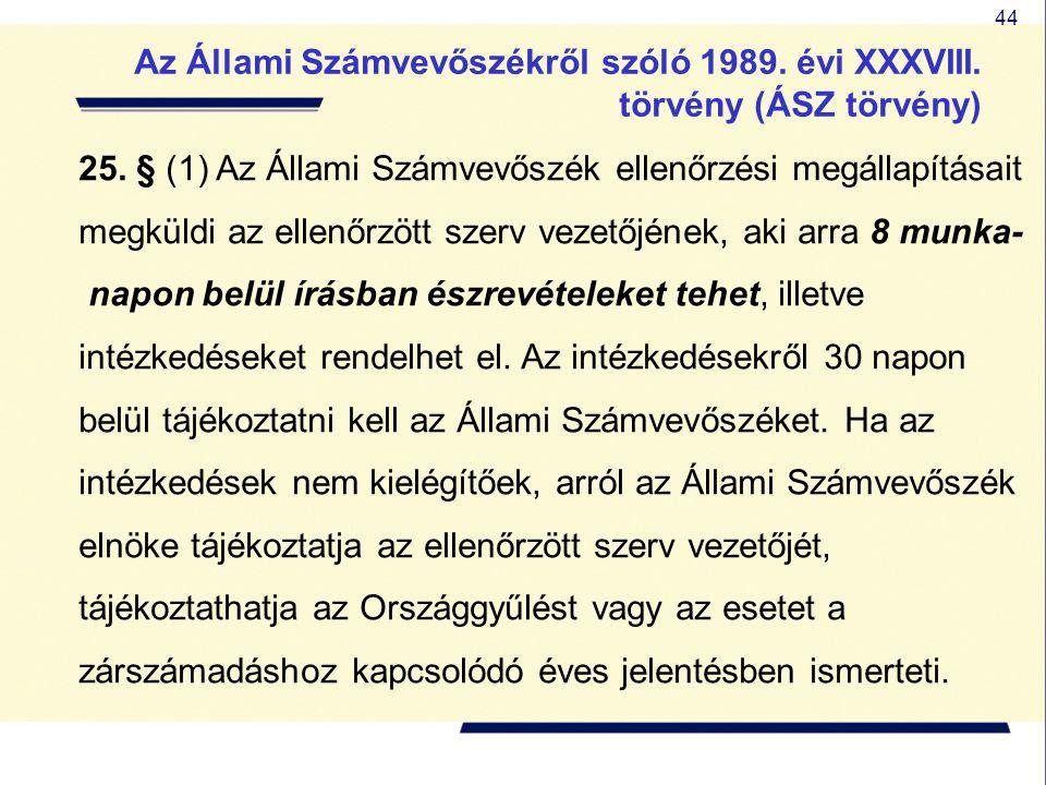 44 25. § (1) Az Állami Számvevőszék ellenőrzési megállapításait megküldi az ellenőrzött szerv vezetőjének, aki arra 8 munka- napon belül írásban észre