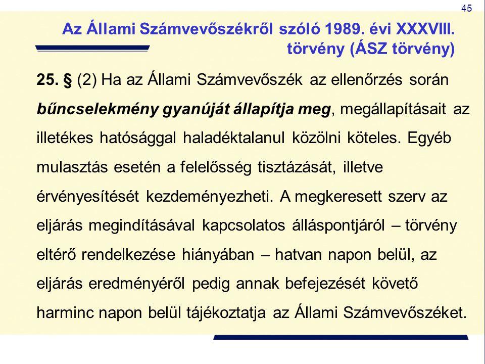 45 25. § (2) Ha az Állami Számvevőszék az ellenőrzés során bűncselekmény gyanúját állapítja meg, megállapításait az illetékes hatósággal haladéktalanu