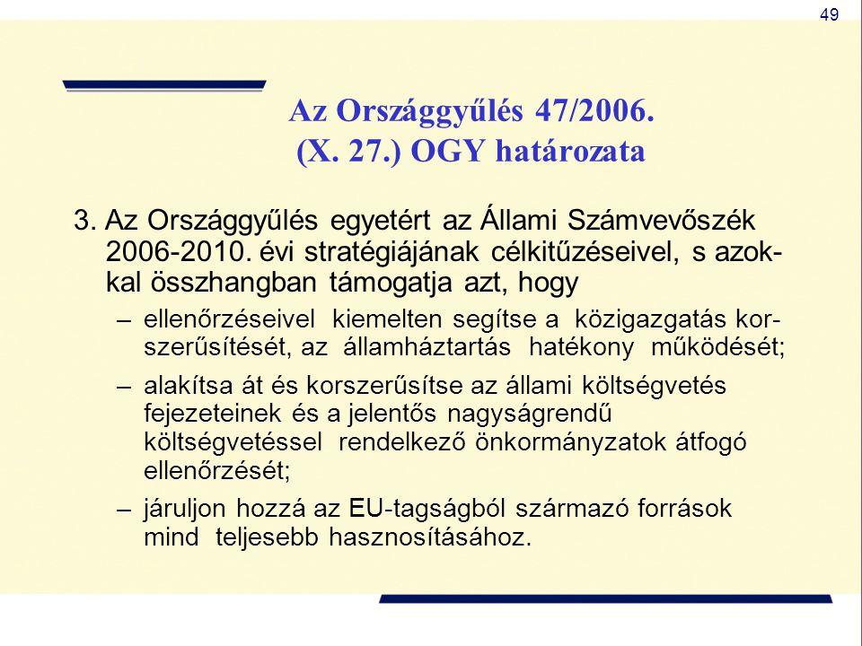 49 3. Az Országgyűlés egyetért az Állami Számvevőszék 2006-2010. évi stratégiájának célkitűzéseivel, s azok- kal összhangban támogatja azt, hogy –elle