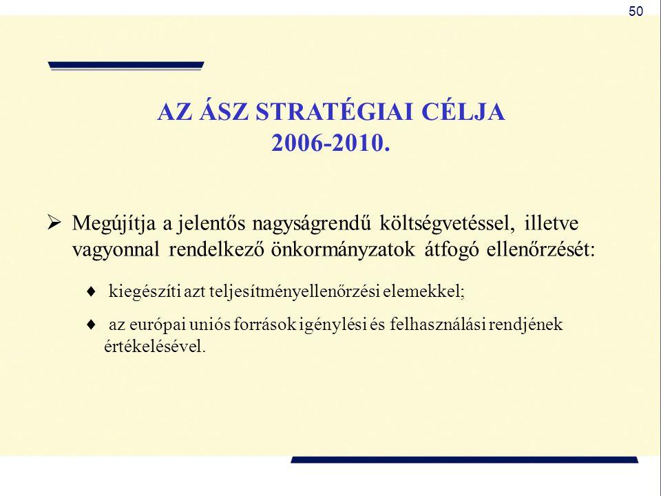 50 AZ ÁSZ STRATÉGIAI CÉLJA 2006-2010.  Megújítja a jelentős nagyságrendű költségvetéssel, illetve vagyonnal rendelkező önkormányzatok átfogó ellenőrz