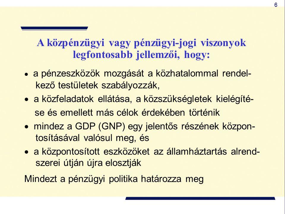6  a pénzeszközök mozgását a közhatalommal rendel- kező testületek szabályozzák,  a közfeladatok ellátása, a közszükségletek kielégíté- se és emellett más célok érdekében történik  mindez a GDP (GNP) egy jelentős részének közpon- tosításával valósul meg, és  a központosított eszközöket az államháztartás alrend- szerei útján újra elosztják Mindezt a pénzügyi politika határozza meg A közpénzügyi vagy pénzügyi-jogi viszonyok legfontosabb jellemzői, hogy: