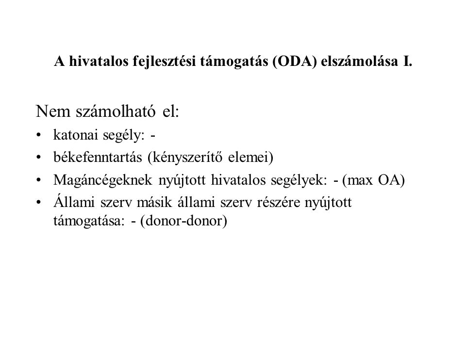 A hivatalos fejlesztési támogatás (ODA) elszámolása I.