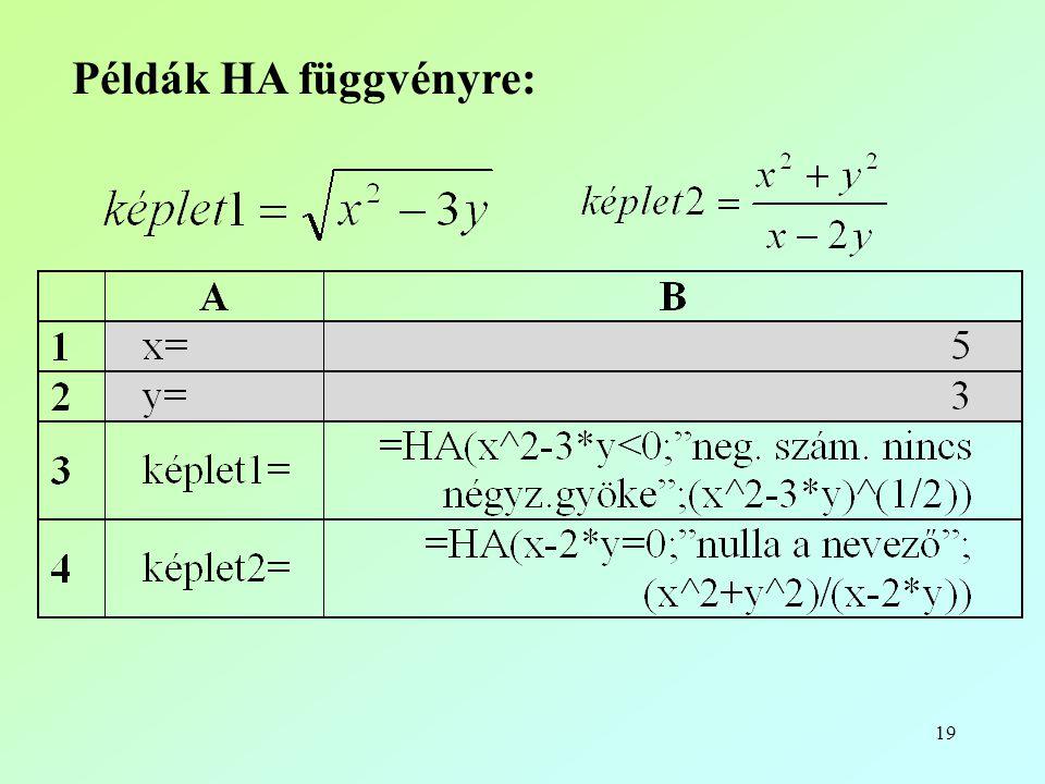 19 Példák HA függvényre: