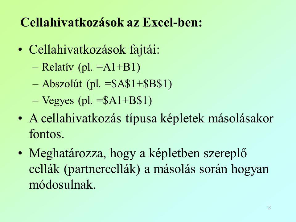 2 Cellahivatkozások az Excel-ben: •Cellahivatkozások fajtái: –Relatív (pl. =A1+B1) –Abszolút (pl. =$A$1+$B$1) –Vegyes (pl. =$A1+B$1) •A cellahivatkozá