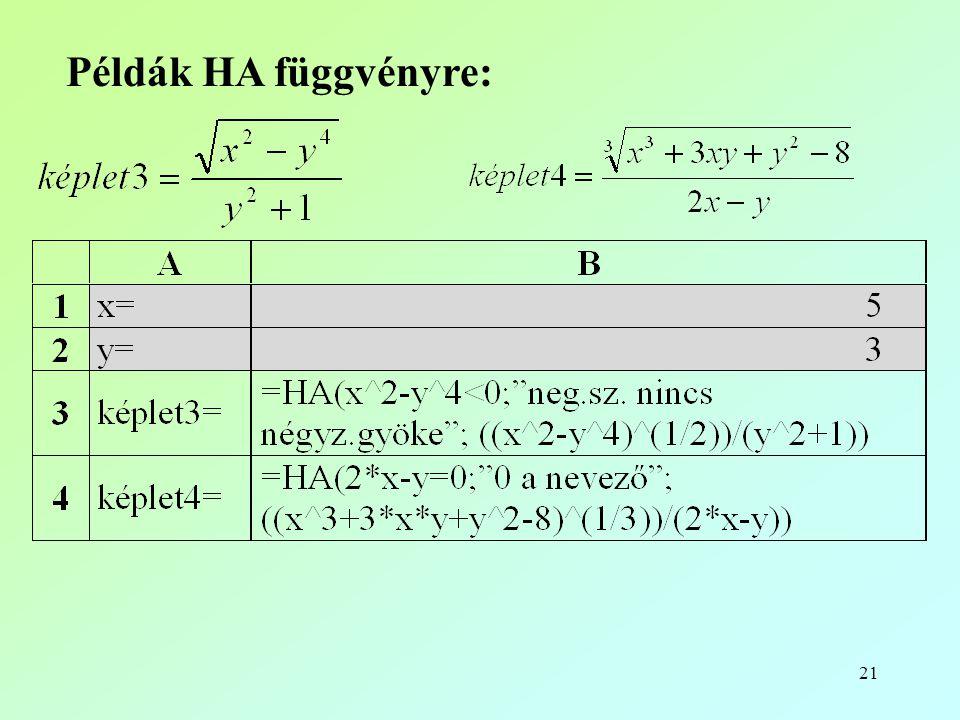 21 Példák HA függvényre: