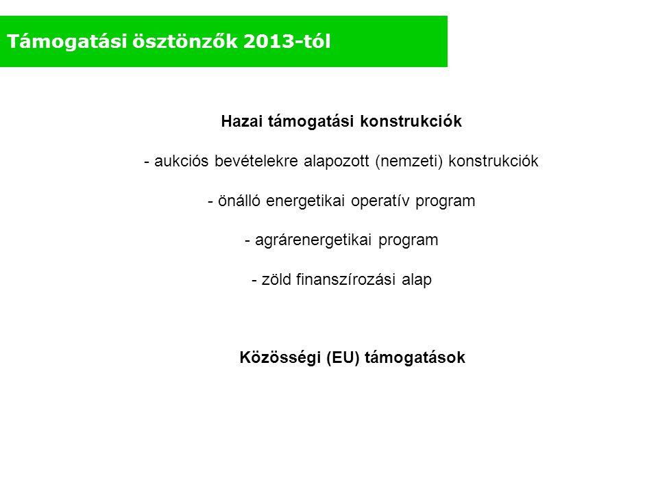 Támogatási ösztönzők 2013-tól Hazai támogatási konstrukciók - aukciós bevételekre alapozott (nemzeti) konstrukciók - önálló energetikai operatív progr