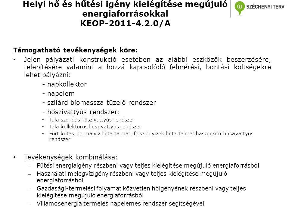 Helyi hő és hűtési igény kielégítése megújuló energiaforrásokkal KEOP-2011-4.2.0/A Támogatható tevékenységek köre: • Jelen pályázati konstrukció eseté