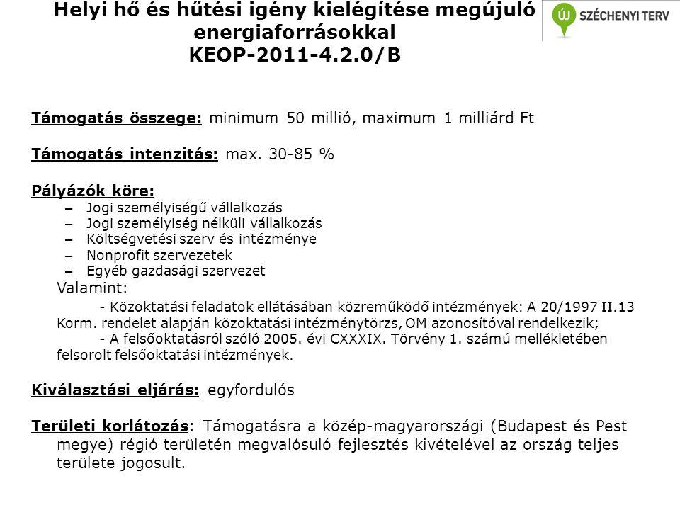 Helyi hő és hűtési igény kielégítése megújuló energiaforrásokkal KEOP-2011-4.2.0/B Támogatás összege: minimum 50 millió, maximum 1 milliárd Ft Támogat