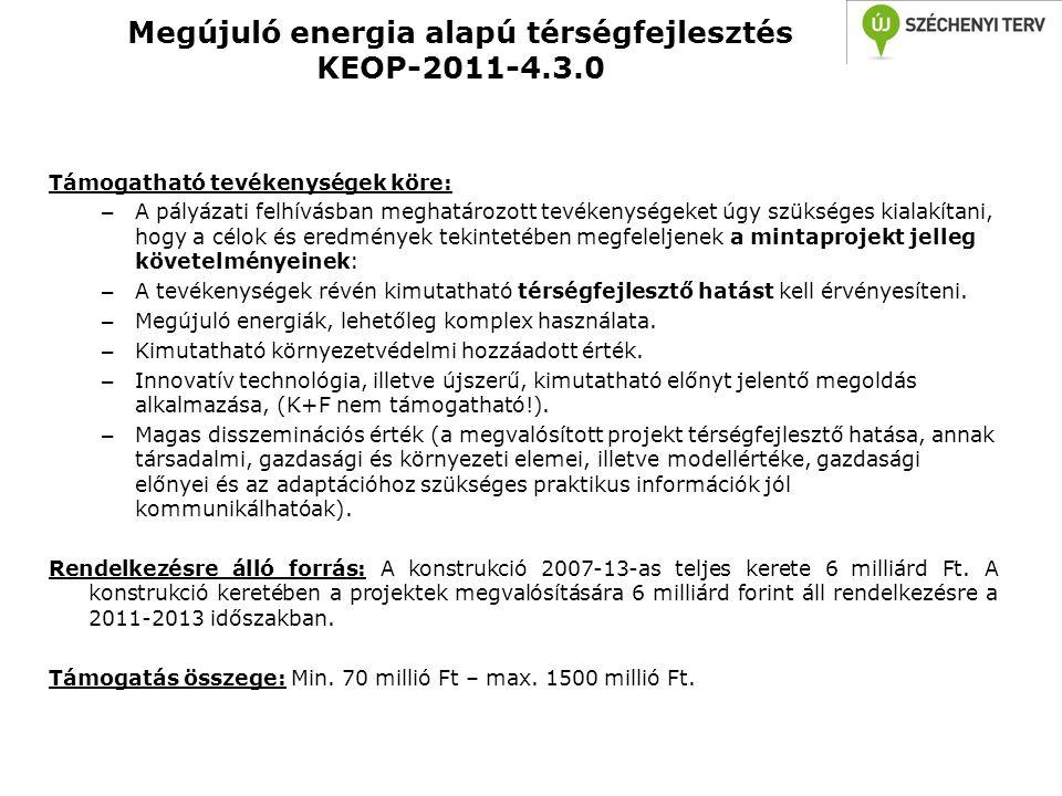 Megújuló energia alapú térségfejlesztés KEOP-2011-4.3.0 Támogatható tevékenységek köre: – A pályázati felhívásban meghatározott tevékenységeket úgy sz
