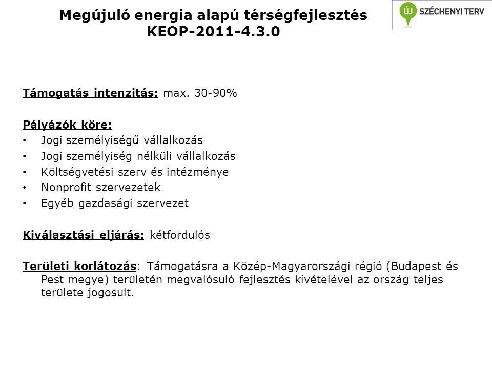 Megújuló energia alapú térségfejlesztés KEOP-2011-4.3.0 Támogatás intenzitás: max. 30-90% Pályázók köre: • Jogi személyiségű vállalkozás • Jogi személ