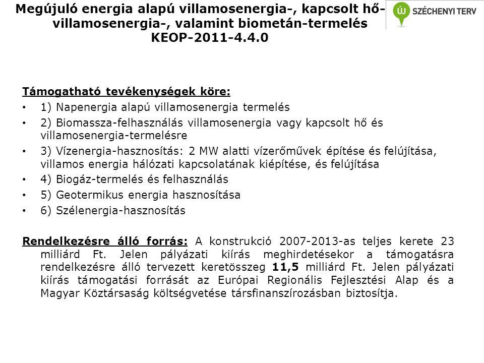 Megújuló energia alapú villamosenergia-, kapcsolt hő- és villamosenergia-, valamint biometán-termelés KEOP-2011-4.4.0 Támogatható tevékenységek köre: