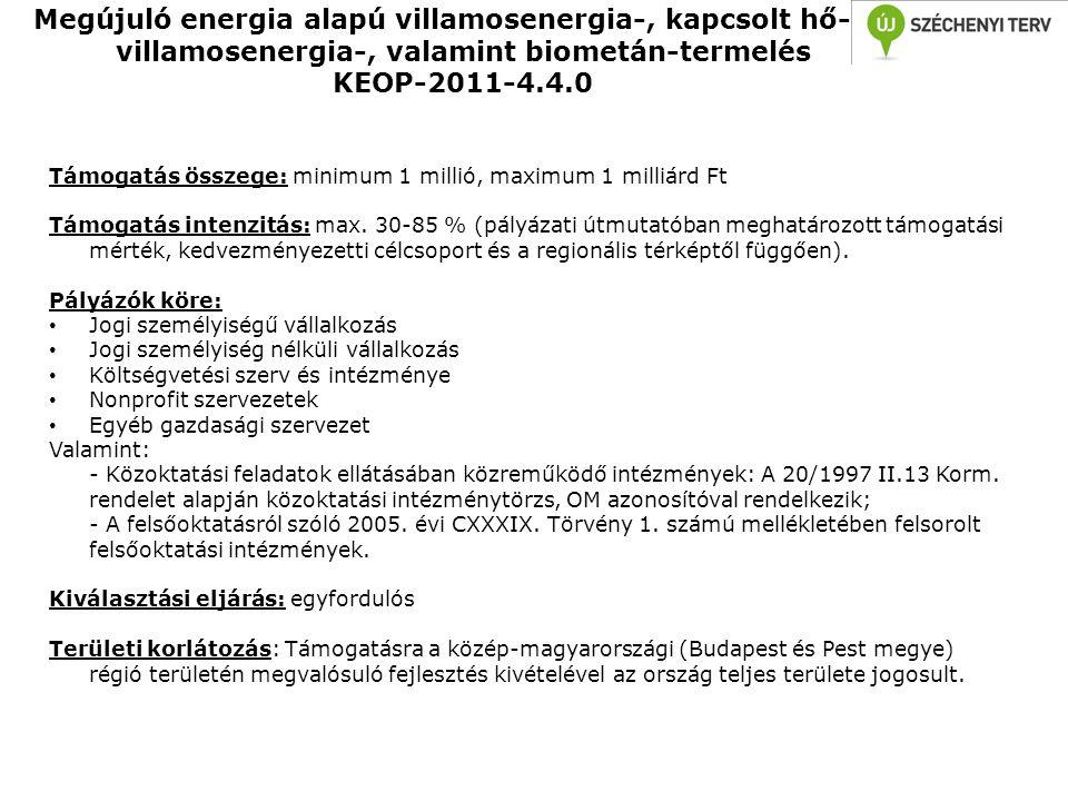 Megújuló energia alapú villamosenergia-, kapcsolt hő- és villamosenergia-, valamint biometán-termelés KEOP-2011-4.4.0 Támogatás összege: minimum 1 mil