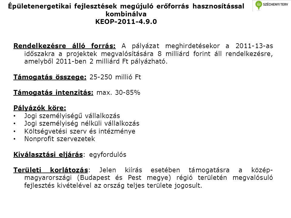 Épületenergetikai fejlesztések megújuló erőforrás hasznosítással kombinálva KEOP-2011-4.9.0 Rendelkezésre álló forrás: A pályázat meghirdetésekor a 20