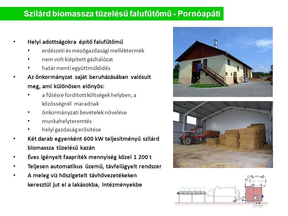 Szilárd biomassza tüzelésű falufűtőmű - Pornóapáti • Helyi adottságokra építő falufűtőmű • erdészeti és mezőgazdasági melléktermék • nem volt kiépítet