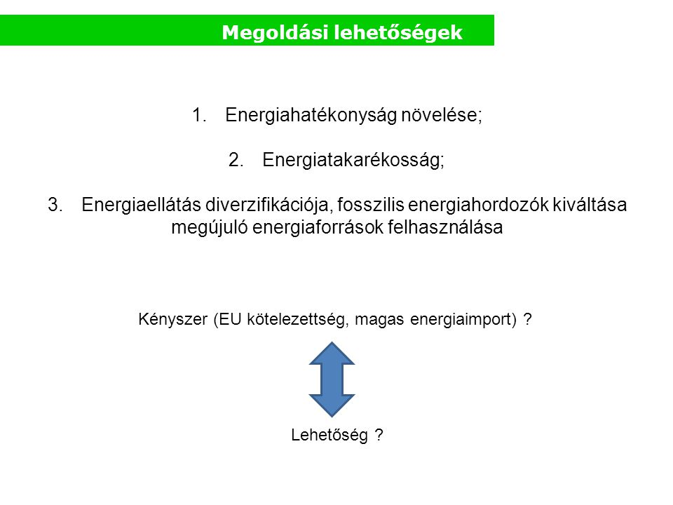 Megoldási lehetőségek 1.Energiahatékonyság növelése; 2.Energiatakarékosság; 3.Energiaellátás diverzifikációja, fosszilis energiahordozók kiváltása meg