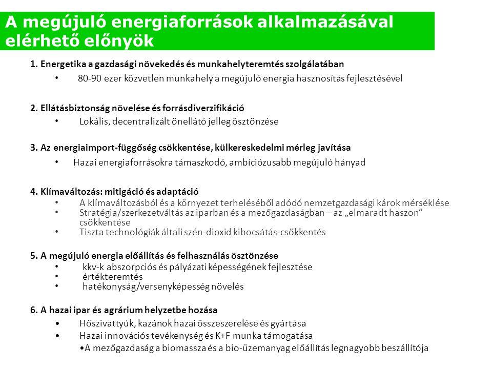 1. Energetika a gazdasági növekedés és munkahelyteremtés szolgálatában • 80-90 ezer közvetlen munkahely a megújuló energia hasznosítás fejlesztésével