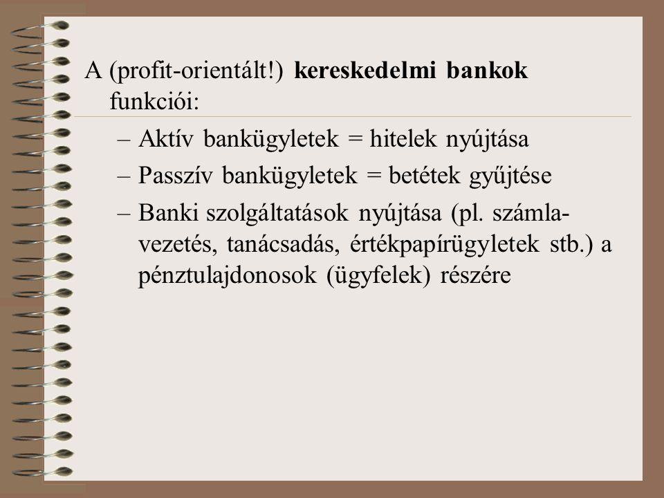 A (profit-orientált!) kereskedelmi bankok funkciói: –Aktív bankügyletek = hitelek nyújtása –Passzív bankügyletek = betétek gyűjtése –Banki szolgáltatá