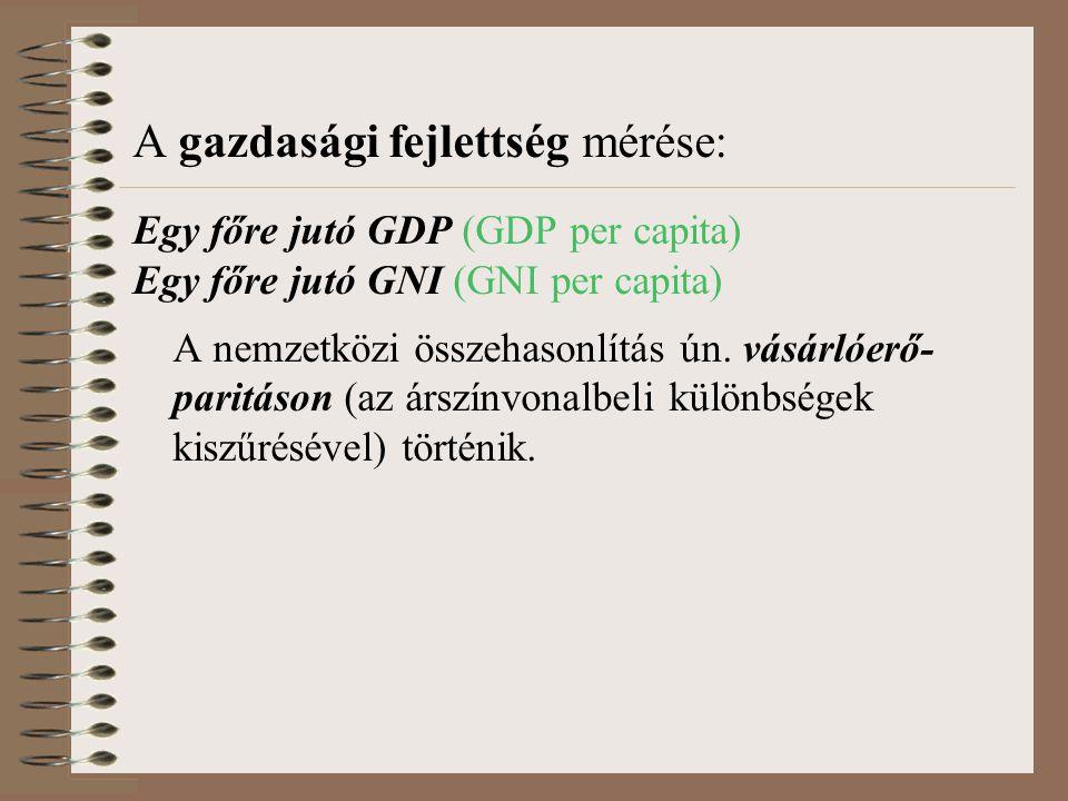 A gazdasági fejlettség mérése: Egy főre jutó GDP (GDP per capita) Egy főre jutó GNI (GNI per capita) A nemzetközi összehasonlítás ún. vásárlóerő- pari