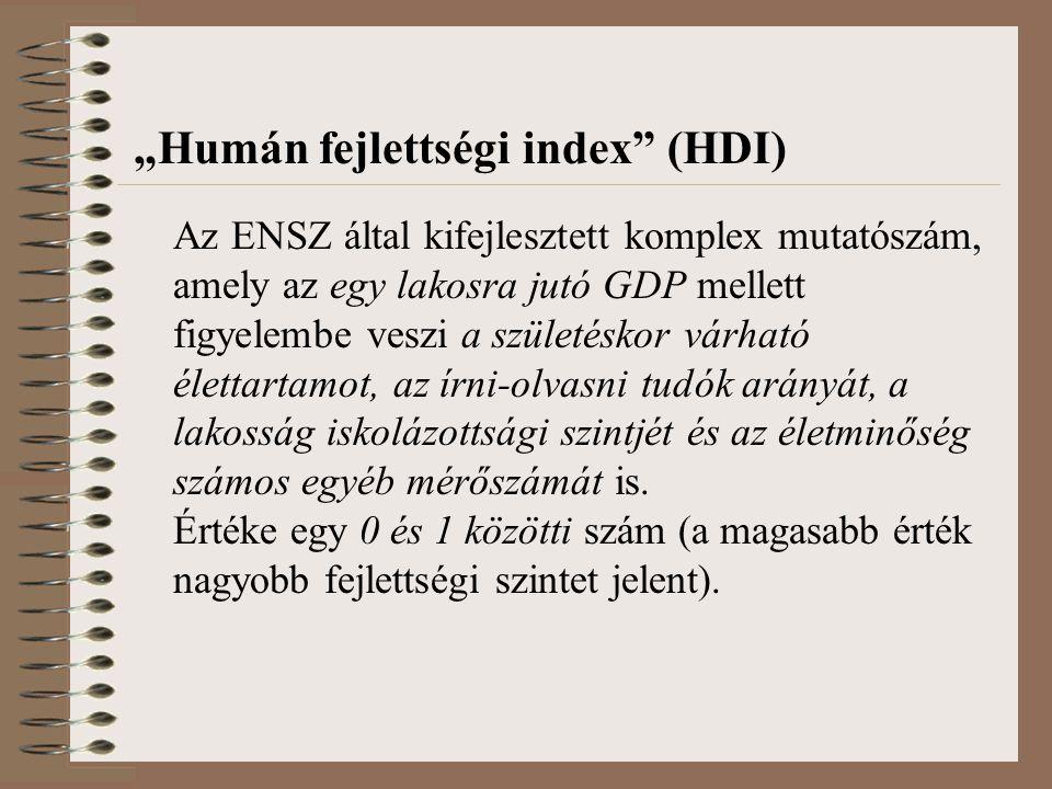 """""""Humán fejlettségi index (HDI) Az ENSZ által kifejlesztett komplex mutatószám, amely az egy lakosra jutó GDP mellett figyelembe veszi a születéskor várható élettartamot, az írni-olvasni tudók arányát, a lakosság iskolázottsági szintjét és az életminőség számos egyéb mérőszámát is."""