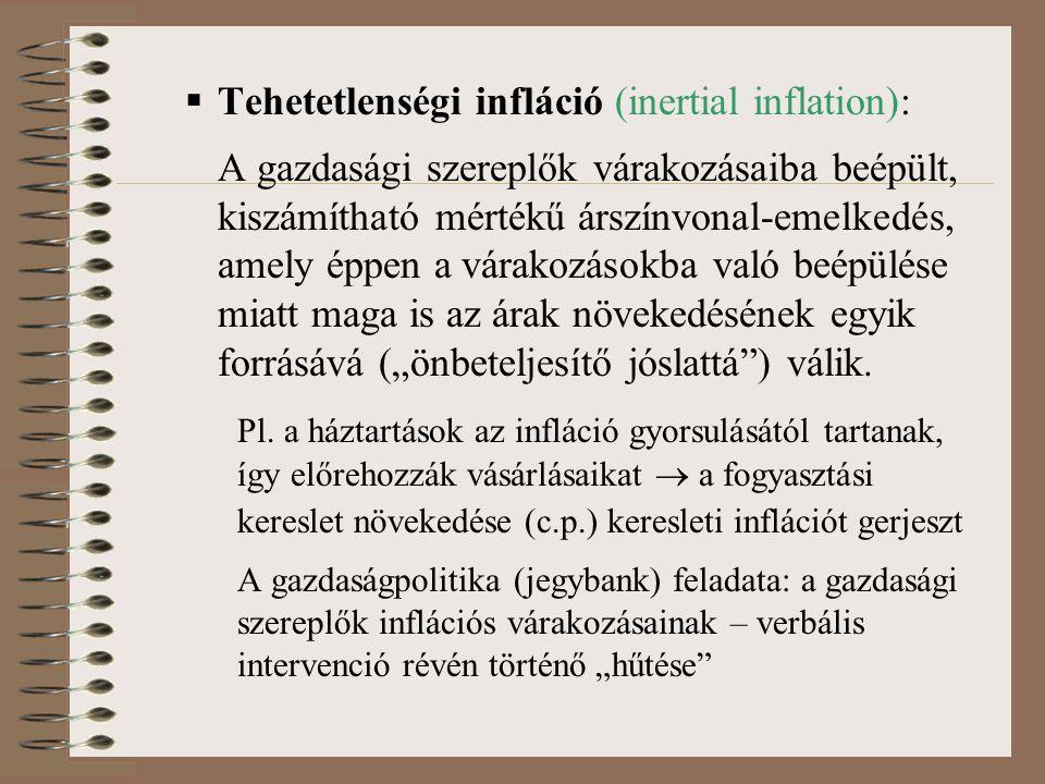  Tehetetlenségi infláció (inertial inflation): A gazdasági szereplők várakozásaiba beépült, kiszámítható mértékű árszínvonal-emelkedés, amely éppen a