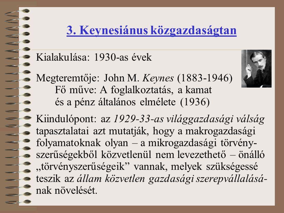 Kialakulása: 1930-as évek Megteremtője: John M. Keynes (1883-1946) Fő műve: A foglalkoztatás, a kamat és a pénz általános elmélete (1936) Kiindulópont