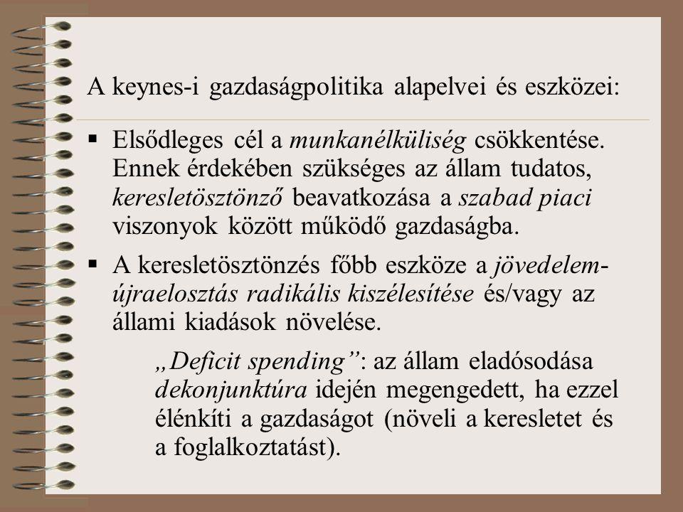A keynes-i gazdaságpolitika alapelvei és eszközei:  Elsődleges cél a munkanélküliség csökkentése.