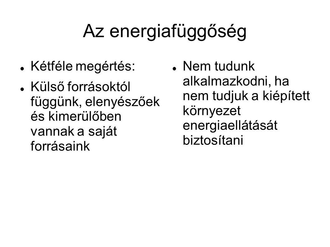 Az energiafüggőség  Kétféle megértés:  Külső forrásoktól függünk, elenyészőek és kimerülőben vannak a saját forrásaink  Nem tudunk alkalmazkodni, ha nem tudjuk a kiépített környezet energiaellátását biztosítani