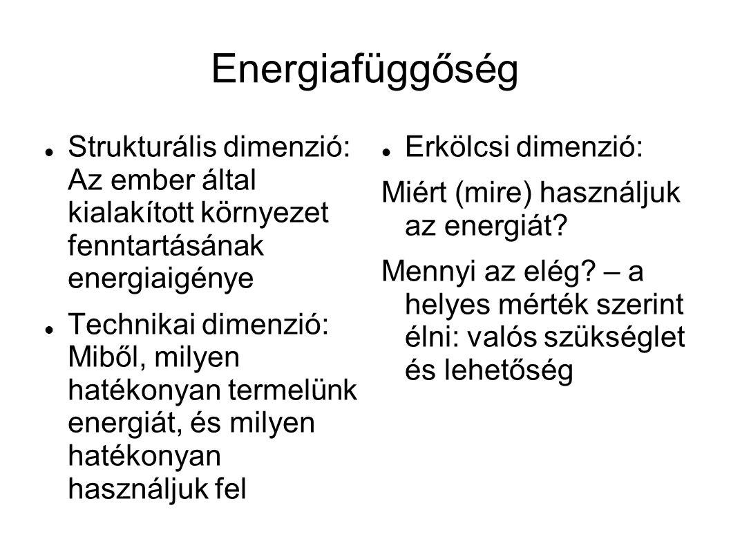 Energiafüggőség  Strukturális dimenzió: Az ember által kialakított környezet fenntartásának energiaigénye  Technikai dimenzió: Miből, milyen hatékonyan termelünk energiát, és milyen hatékonyan használjuk fel  Erkölcsi dimenzió: Miért (mire) használjuk az energiát.