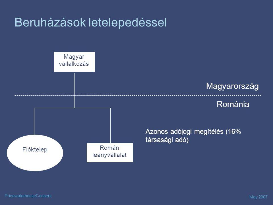 May 2007 PricewaterhouseCoopers Nyereség – osztalék kifizetés Román leányvállalat Deutsches Unternehmen Románia Magyarország 0% * /5% * /10% *** Steuerfrei Besteuerung von Kapitalgesellschaften Román fióktelep Nyereség kifizetésOsztalék *Amennyiben az Anya- leányvállalat feltételei teljesülnek **Magyar – román kettős adóztatási egyezmény értelmében ***Illetőségigazolás szükséges