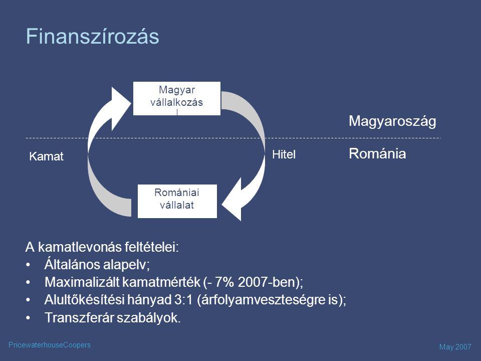 May 2007 PricewaterhouseCoopers Kamatfizetés Román vállalkozás Magyar vállalkozás Románia Magyaroszág Kamat 0%*** 16%/15%*/10%** 16% tao Adóköteles jövedelm * Román – magyar kettős adóztatási egyezmény szerint ** Amennyiben a kamat - jogdíj irányelv feltételei teljesülnek *** romániai illetőségű kedvezményezett