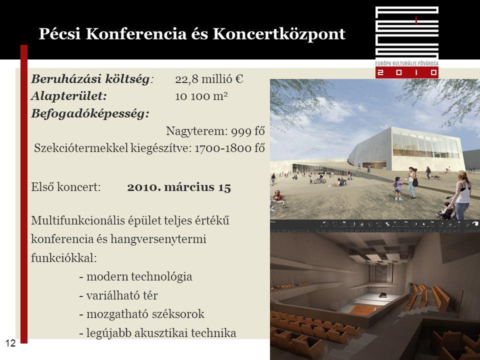 12 Beruházási költség:22,8 millió € Alapterület: 10 100 m 2 Befogadóképesség: Nagyterem: 999 fő Szekciótermekkel kiegészítve: 1700-1800 fő Első koncert: 2010.