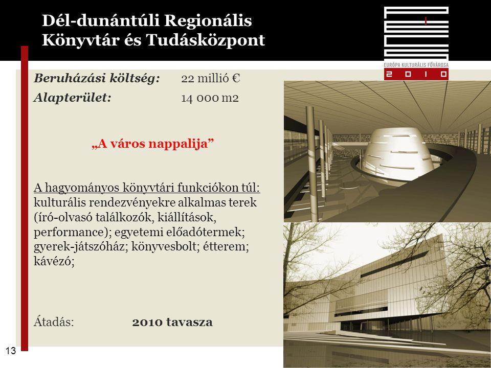 """13 Beruházási költség:22 millió € Alapterület:14 000 m2 """"A város nappalija A hagyományos könyvtári funkciókon túl: kulturális rendezvényekre alkalmas terek (író-olvasó találkozók, kiállítások, performance); egyetemi előadótermek; gyerek-játszóház; könyvesbolt; étterem; kávézó; Átadás: 2010 tavasza Dél-dunántúli Regionális Könyvtár és Tudásközpont 13"""