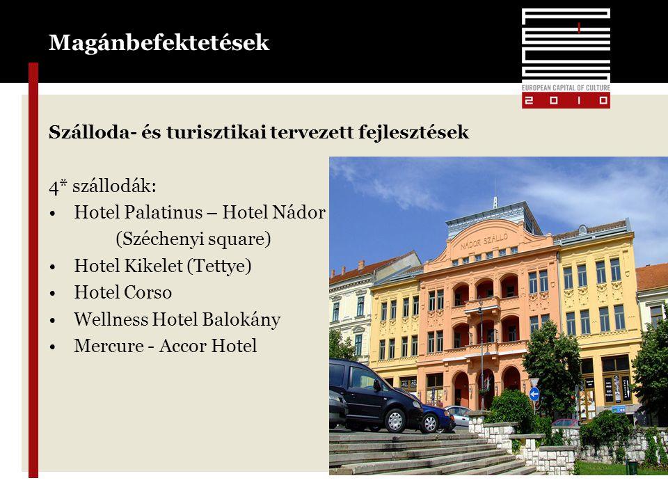 Magánbefektetések Szálloda- és turisztikai tervezett fejlesztések 4* szállodák: •Hotel Palatinus – Hotel Nádor (Széchenyi square) •Hotel Kikelet (Tettye) •Hotel Corso •Wellness Hotel Balokány •Mercure - Accor Hotel