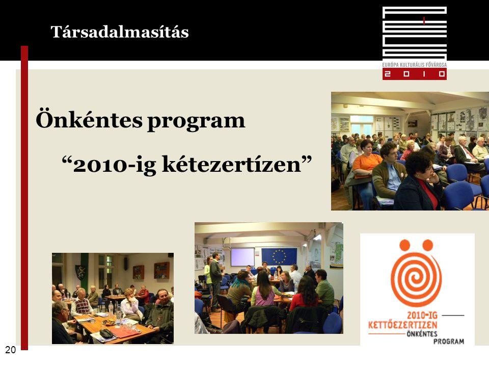20 Önkéntes program 2010-ig kétezertízen Társadalmasítás 20