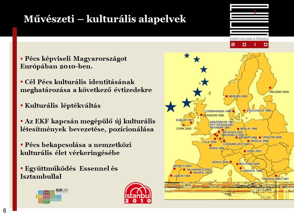 6 Művészeti – kulturális alapelvek 6  Pécs képviseli Magyarországot Európában 2010-ben.