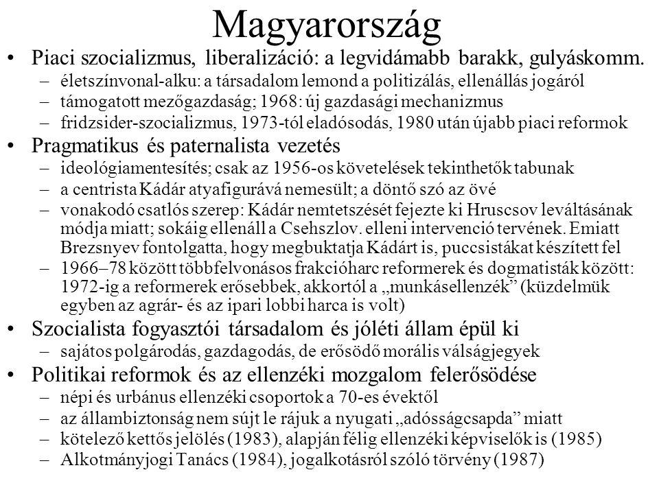 Magyarország •Piaci szocializmus, liberalizáció: a legvidámabb barakk, gulyáskomm.