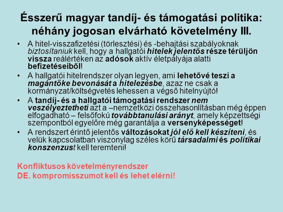 Ésszerű magyar tandíj- és támogatási politika: néhány jogosan elvárható követelmény III.