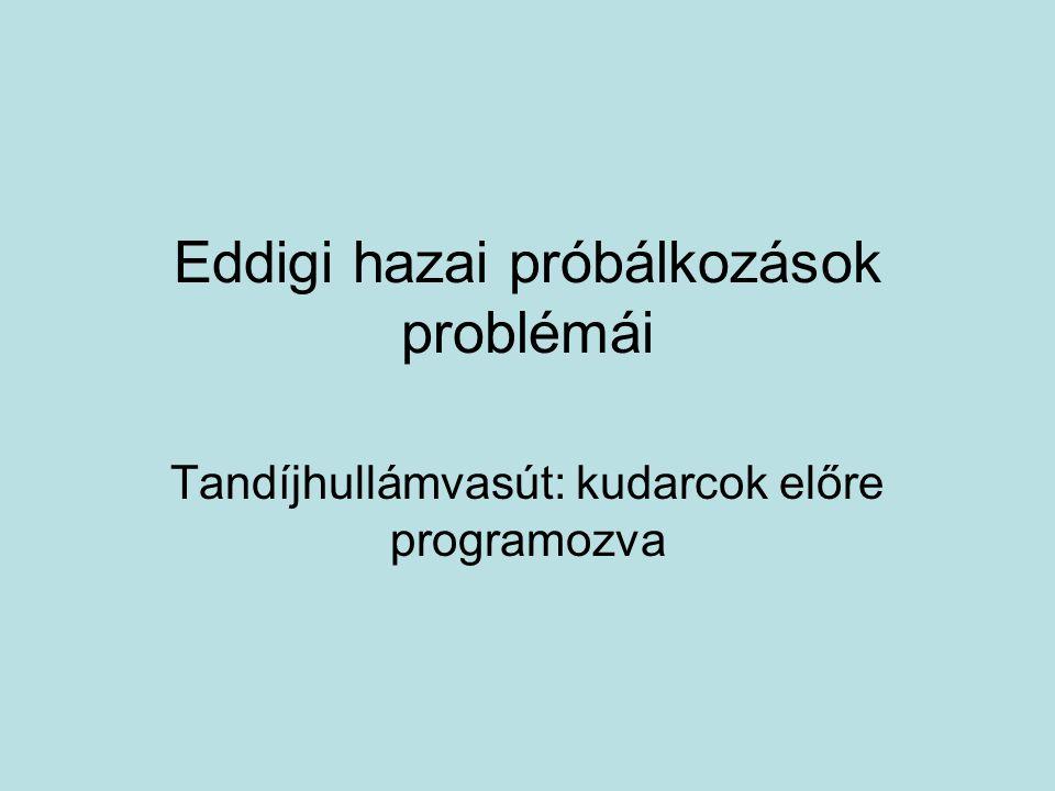 Eddigi hazai próbálkozások problémái Tandíjhullámvasút: kudarcok előre programozva