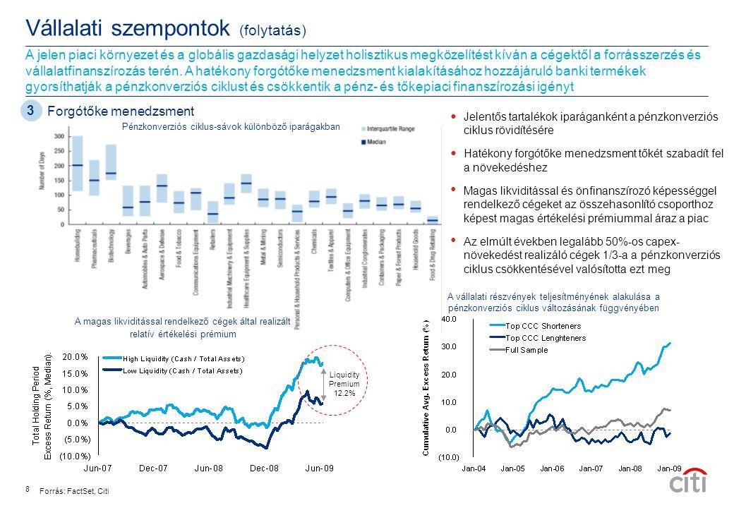 """Hitelek száma Hitel nagyság Vállalati szempontok (folytatás) A jelenlegi globális gazdasági helyzetben egyre keresettebbek az alternatív finanszírozási források a hagyományos hitelezéssel szemben, mivel a hosszabb futamidő és nagyobb forrásigény kielégítését teszik lehetővé • A magyar cégek túlnyomó részben a bankfinanszírozást részesítik előnyben, így részben ennek is köszönhető a relatíve fejletlen tőkepiac • Mindazonáltal bizonyos típusú finanszírozási igények, alternatív forrásszerzést igényelnek • Az idei évben a figyelem középpontjában főként a befektetési besorolású, szuverén és a kvázi-szuverén kibocsátókra terelődött, de növekvő az érdeklődés a kockázatosabb kibocsátások iránt is  """"Liability management –Értékteremtő Kötelezettség-visszavásárlás –Refinanszírozási kockázat kezelése Tőkepiac szerepének felértékelődése 9 Exporthitel finanszírozás 54  Az exporthitel ügynökségek kormányzati entitások, tevékenységük exportösztönöző hatása a munkahelyteremtést és gazdasági növekedést segíti elő  Az ügynökségek bank- és szállítói finanszírozáshoz biztosítanak garanciákat, közvetlen hiteleket nyújtanak, általában nem befektetési besorolású hitelfelvevők igényeit AAA /AA besorolású hitelekké transzformálja  Az exporthitel finanszírozás anticiklikus, gazdasági visszaesés idején is szinte változatlan prémiumokkal elérhető  Hosszú futamidő, türelmi idő és rendkívül versenyképes árazás  Forrásdiverzifikációra ad lehetőséget, így hitelkeretet szabadít fel Eurókötvény és szindikált hitelek 2007-2008 Exporthitel finanszírozás 2007-2008 CEEMEA szindikált hitel volumenek Forrás: Dealogic Kibocsátások ($Mrd) Eurokötvény kibocsátási volumenek"""